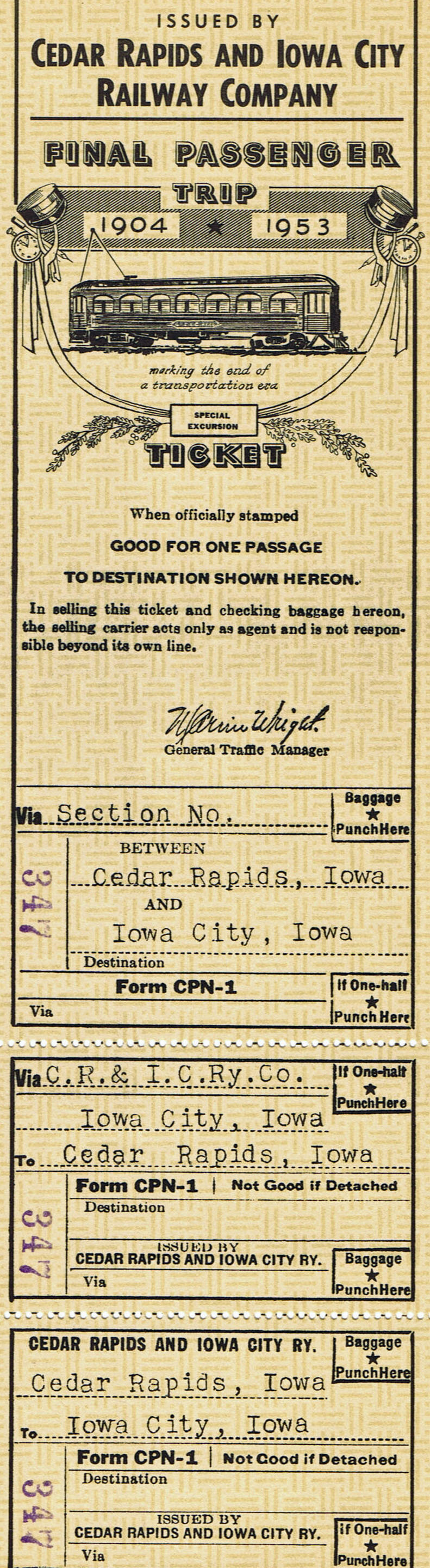 Last CRANDIC passenger ride ticket