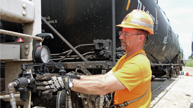 CRANDIC employee at work on train